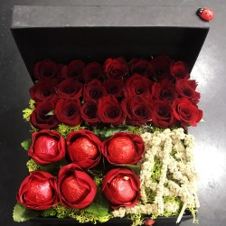 Red Roses and Love Chocolate in Box